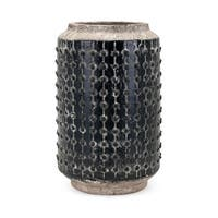 "13.75"" Black and White Rustic Finish Mandra Vase Tabletop Decor"