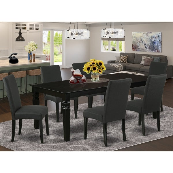 Rectangular 66/84 Inch Table and Parson Chairs in Black Linen Fabric (Number of Chairs Option). Opens flyout.