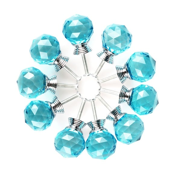 """1.18""""Crystal Glass Drawer Knobs Cabinet Pull Handle Round 10pcs - 1.18"""" x 1.18""""(D*H). Opens flyout."""