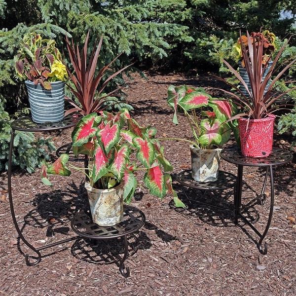 Sunnydaze Bronze Checkered Triple Planter Stand Set of 2