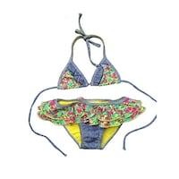 4072e02bd6a8f Little Girls Green Pink Spring Floral Ruffle Triangle 2 Pc Bikini Swimsuit