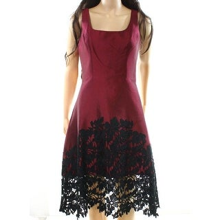 Kay Unger NEW Red Womens Size 2 Floral-Applique A-Line Sheath Dress