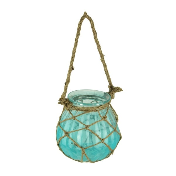 Netted Blue Glass Candle Lantern with Jute Rope Handle - 7 X 6 X 6 inches
