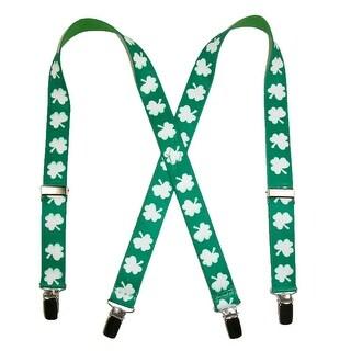 CTM® Kids' Elastic St. Patricks Day Shamrock Clip End Suspenders