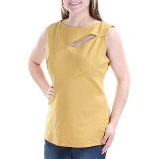 ANNE KLEIN $89 Womens New 1337 Gold Cut Out Cap Sleeve Jewel Neck Top 14 B+B