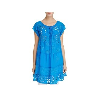 Johnny Was Womens Tunic Top Woven Eyelet