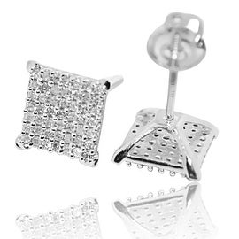 8mm Wide Princess Cut Style Square Diamond Stud Earrings Round Pave Set 0.29ctw 10k White Gold