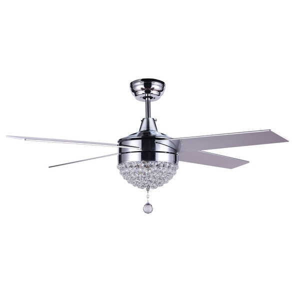 48 Dimmable Crystal Ceiling Fan With Led Light Remote Reversible 48 Overstock 28487398