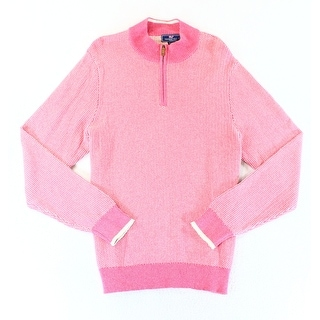 Vineyard Vines NEW Pink Mens Size Large L Texture Quarter Zip Sweater