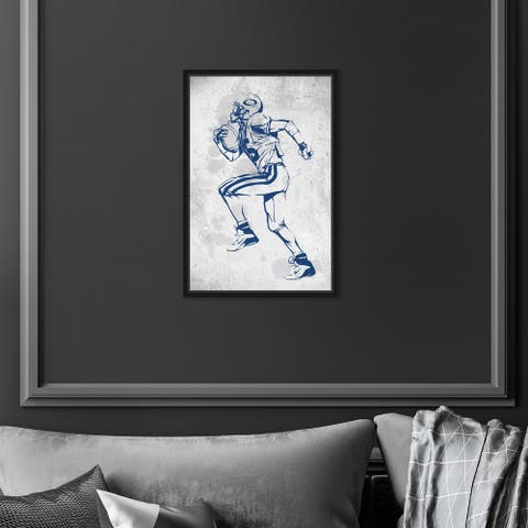 Oliver Gal 'Player in Action' Sports Blue Wall Art Canvas