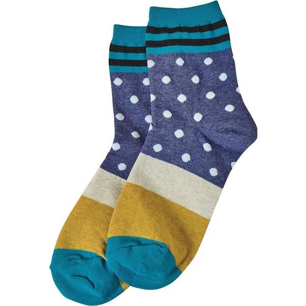 Women's Socks - Dots 'N Stripes Socks - Turquoise - One size