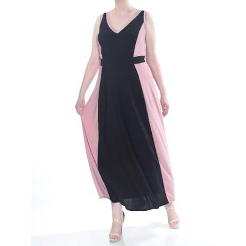 LOVE SQUARED Womens Black Contrast Trim Sleeveless Maxi Evening Dress Plus Size: 2X