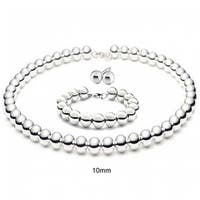 Bling Jewelry Sterling Silver Bead Necklace Bracelet and Earrings Set 10mm