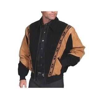 Scully Western Jacket Mens Leather Zip Southwestern Onyx Carmel