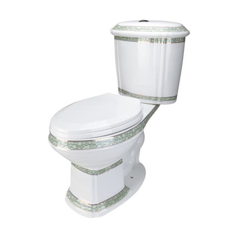 Renovator's Supply White And Green Dual Flush Elongated Two-Piece Toilet ADA