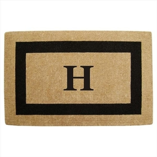 Nedia Home 02080H Single Picture - Black Frame 30 x 48 In. Heavy Duty Coir Doormat - Monogrammed H