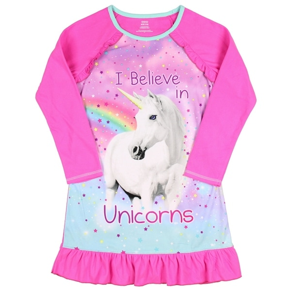 Shop Big Girls I Believe In Unicorns Long Sleeve Sleep Gown ...