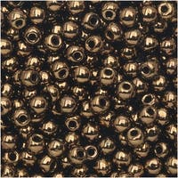 True2 Czech Glass, Round Druk Beads 2mm, 200 Pieces, Jet Bronze