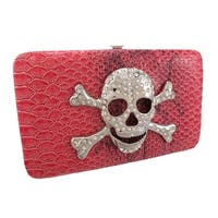Snakeskin Textured Rhinestone Skull Wallet Checkbook