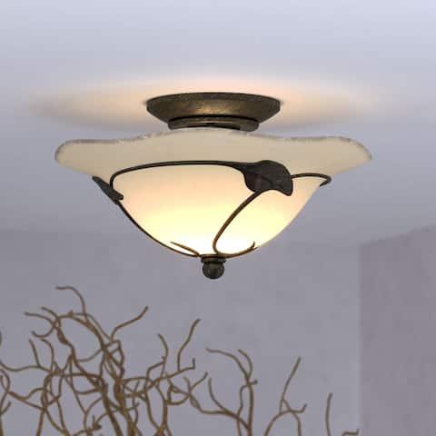 Vine 2L LED Black Rustic Semi Flush Ceiling Light or Fan Light Kit - 12-in W x 6.75-in H x 12-in D