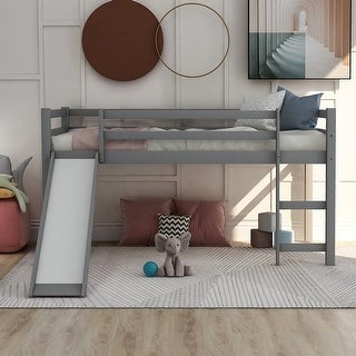 Link to Merax Wood Twin Loft Bed with Slide Similar Items in Kids' & Toddler Furniture