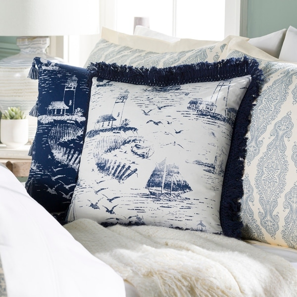 Adrie Coastal Scene Printed 18-inch Throw Pillow. Opens flyout.