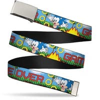 Sonic Classic Blank Chrome  Buckle Sonic Game Over Fall Rings Webbing Web Belt - S