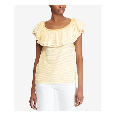 RALPH LAUREN Womens Yellow Ruffled Jewel Neck Sweater Size XL