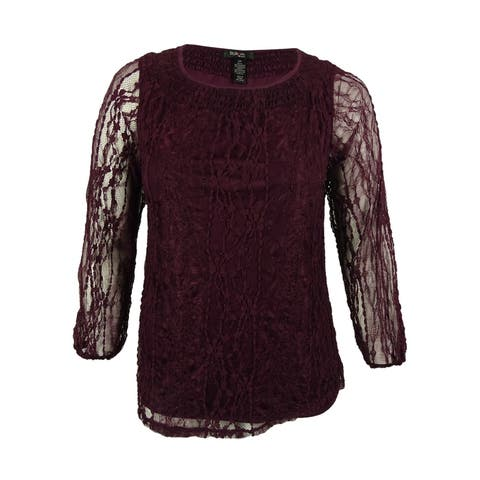 Style & Co. Women's Lace Overlay Long Sleeve Top