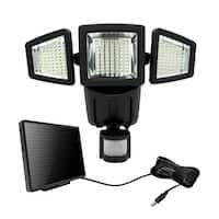 182 LED Triple-head Solar Motion Sensor Security Flood Light 1000Lumens-Black
