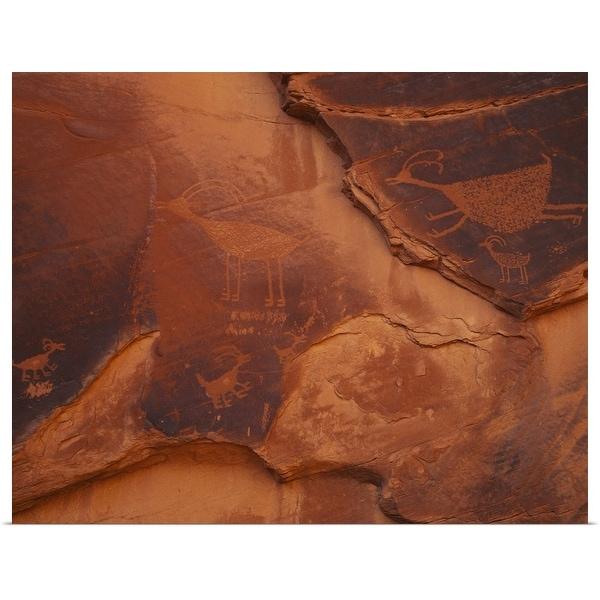 """Petroglyphs on the rocks, Monument Valley Tribal Park, Arizona"" Poster Print"