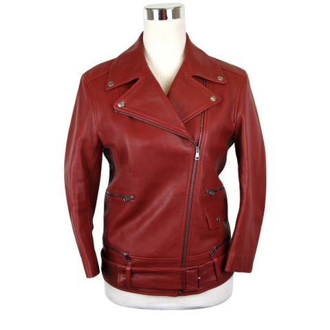 Gucci Women's Quilted Lining Red Biker Leather Jacket 411148 6405 (G 38) - G 38