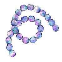 Czech Fire Polished Glass Beads 6mm Round Two Tone Purple/Blue (25)