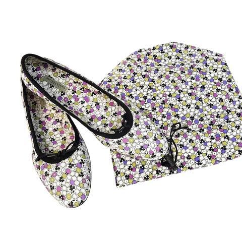 Bottega Veneta Women's Floral Green / Purple / Black Leather Ballet Flats 430525