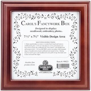 "Mahogany Carol's Fancywork Box 9.5""X9.5""X2.75""-Design Area 7-1/2""X7-1/2"""
