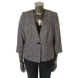 Kasper Womens Plus A Summer Place Textured 3/4 Sleeves One-Button Blazer - 18W