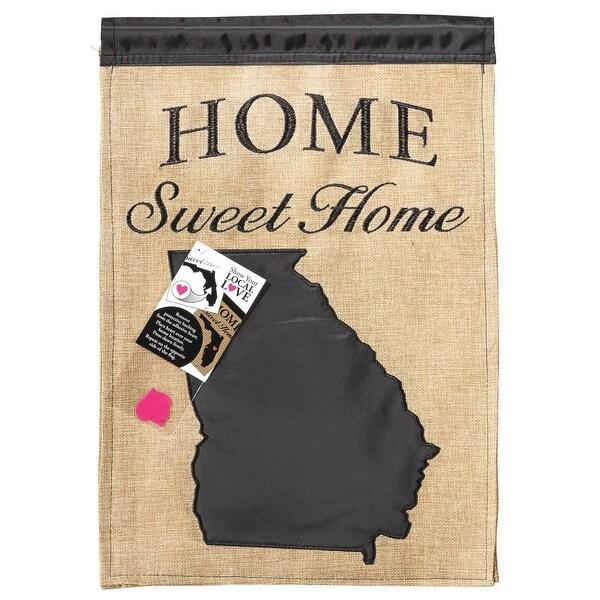 """Brown and Black """"HOME Sweet Home"""" Georgia Burlap Garden Flag 18"""" x 13"""" - N/A"""