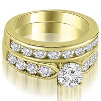 2.70 cttw. 14K Yellow Gold Classic Channel Set Round Cut Diamond Bridal Set