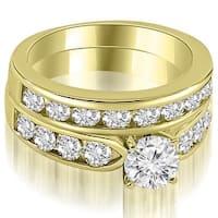 2.95 cttw. 14K Yellow Gold Classic Channel Set Round Cut Diamond Bridal Set,HI,SI1-2