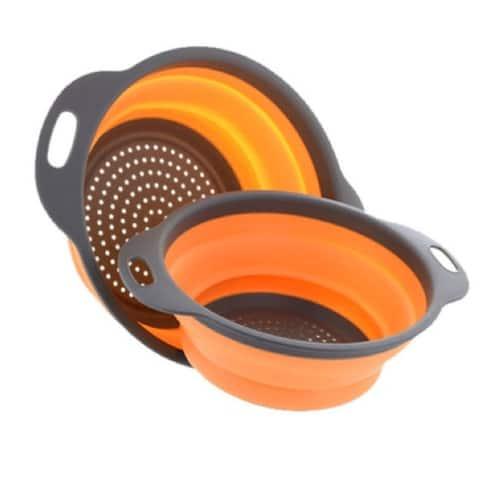 2-Pack 3-In-1 Collapsible Strainer, Salad Bowl And Multipurpose Holder - Orange