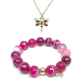 Fuchsia Agate Bracelet & Dragonfly Gold Charm Necklace Set