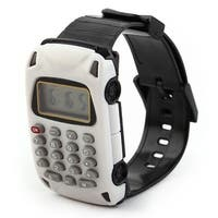School Detachable Wristband Watch Car Design 8 Digit Electronic Calculator White