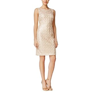 Calvin Klein Sequined Lace Sheath Dress , Gold, 4
