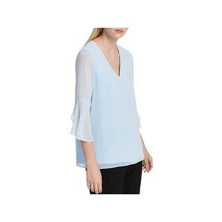 Calvin Klein Womens Blouse V Neck Sheer