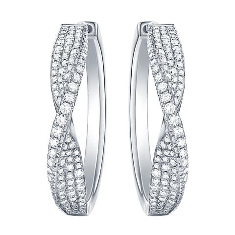 Vedantti 0.92 Carats Round G-H/VVS1 Natural Diamond Mobius Slim Max Hoop Earring