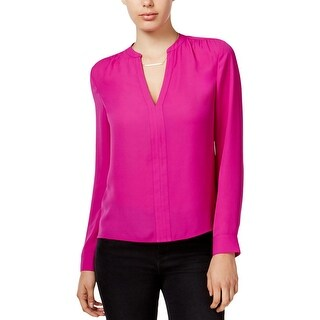 Guess Womens Jenalyn Pullover Top Cut-Out Surplice Back