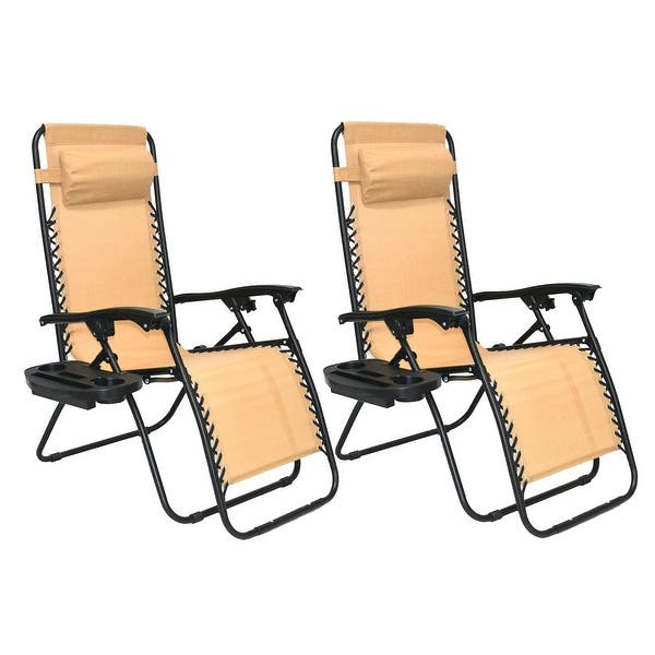 Zero Gravity Chair Case Lounge Outdoor Patio Beach Yard Garden Canopy Sunshade Utility Tray Cup Holder Tan Beige Two Pack On Sale Overstock 32162649