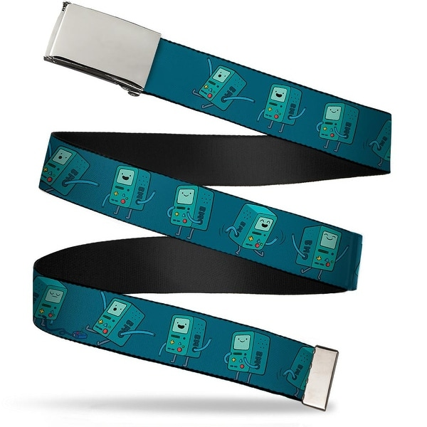 "Blank Chrome 1.0"" Buckle Bmo Poses Turquoise Webbing Web Belt 1.0"" Wide - S"