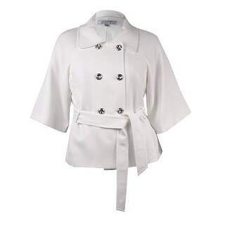 Tahari ASL Women's Belted Double Breast Jacket - Ivory White