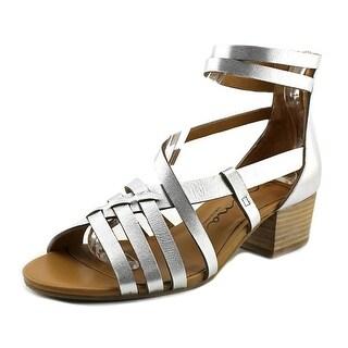 Nina Victor Women Open Toe Leather Silver Gladiator Sandal